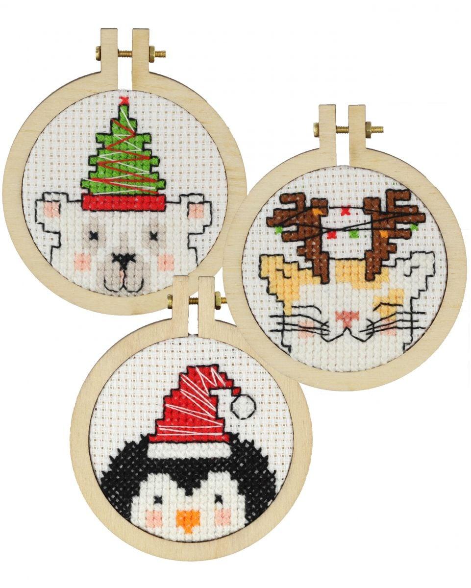 3 embroidery kit christmas ornaments nice for the christmas tree