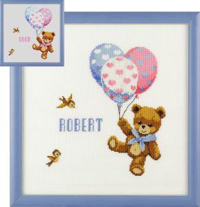 Borduurpakket geboortetegel beertje met ballonnen