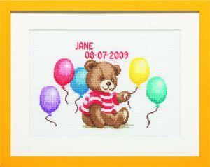 Borduurpakket geboortetegel leuk beertje met ballonnen