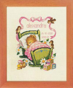 Borduurpakket geboortetegel lief beertje in wiegje roze .
