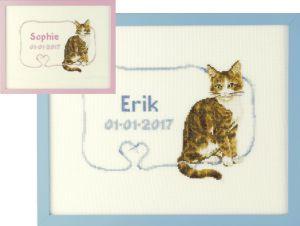 Borduurpakket geboortetegel voor meisje/ jongen in een pakket van Franciens katten