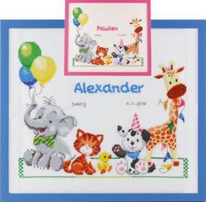 Borduurpakket geboortetegel vrolijke dieren op roze / blauw aida.