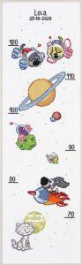 Borduurpakket groeimeter Woezel & Pip kids, in de ruimte