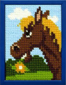 Borduurpakket happy paard voor kinderen, voorbedrukt