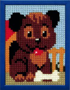 Borduurpakket hondje met bot voor kinderen , voorbedrukt.