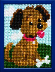 Borduurpakket hondje voor kinderen, voorbedrukt.