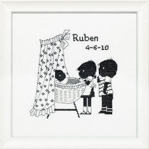 Borduurpakket Jip&Janneke geboortetegel. Welkom lief broertje/zusje, Fiep Westendorp