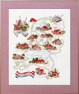 Borduurpakket kaart van Holland met oud hollandse boerderijen