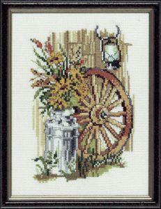 Borduurpakket karrenwiel met zonnebloemen