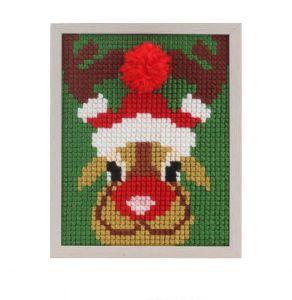 Borduurpakket kerst rendier voor kinderen, voorbedrukt