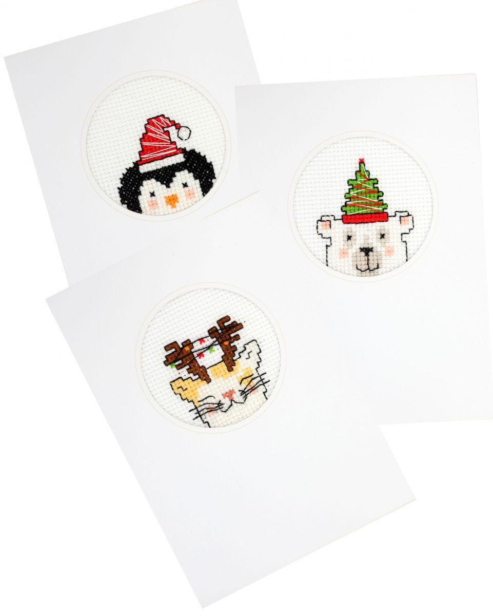 borduurpakket kerst zelf borduren van drie kerstkaarten