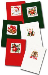 Borduurpakket kerst, zelf borduren van zes kerstkaarten.