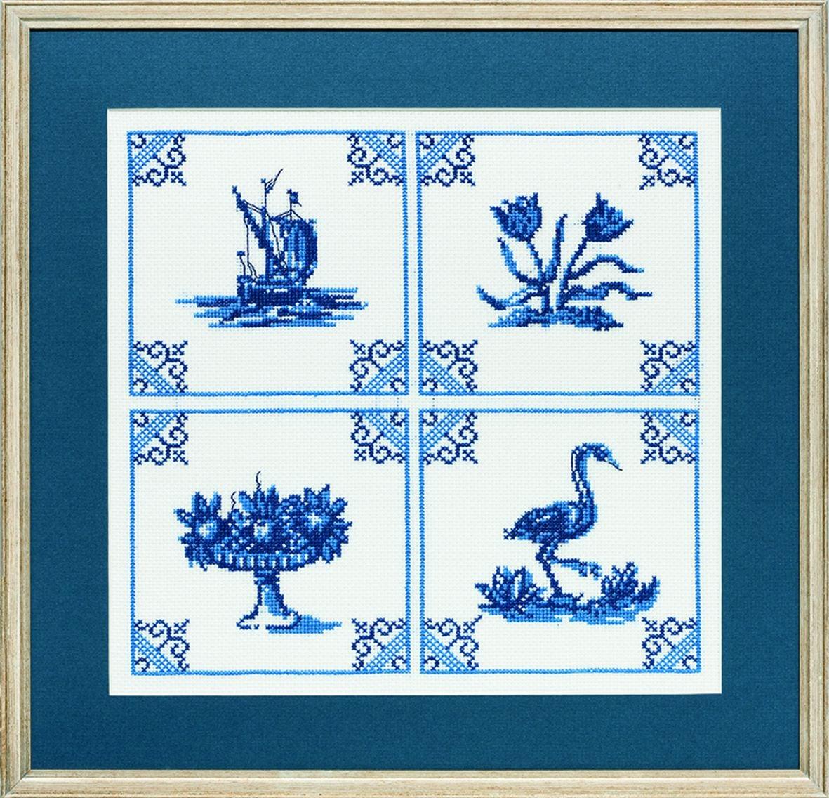 borduurpakket klassieke delftsblauwe tegeltjes