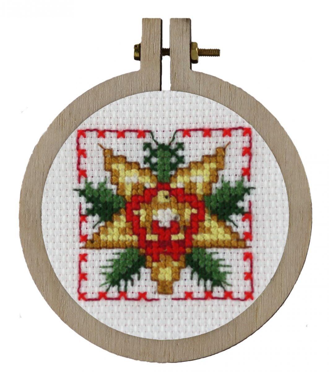 borduurpakket leuke kersthanger voor in de kerstboom