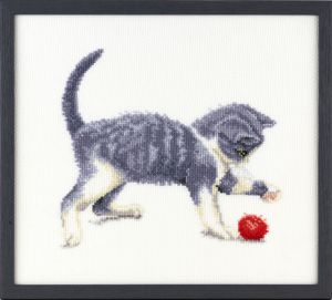 Borduurpakket lief spelend katje, Francien van Westering.