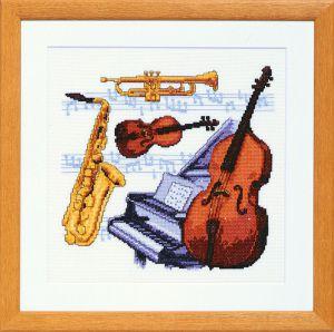Borduurpakket muziekinstrumenten.