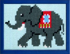 borduurpakket olifantje uit India voor kinderen, voorbedrukt.