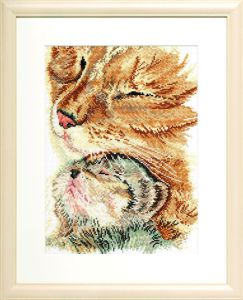 Borduurpakket ontroerende poes met haar kitten.