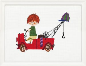 Borduurpakket Pluk van de Petteflet in zijn rode kraanwagen, Fiep Westendorp