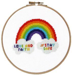 Borduurpakket regenboog, snel te borduren