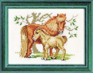 Borduurpakket shetland pony met veulen.