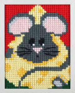 Borduurpakket van smikkelende muis voor kinderen, voorbedrukt