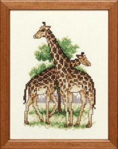 Borduurpakket van twee giraffen