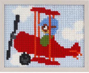 Borduurpakket vliegtuig voor kinderen, voorbedrukt.