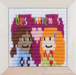 Borduurpakket voor kinderen korte platsteek Best friends