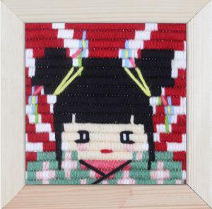 Borduurpakket voor kinderen korte platsteek geisha