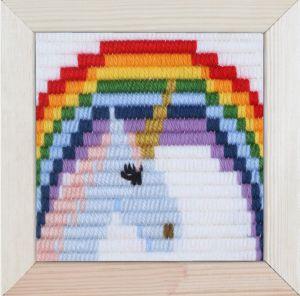Borduurpakket voor kinderen korte platsteek unicorn