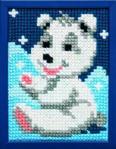 Borduurpakket vrolijk ijsbeertje voor kinderen, voorbedrukt.