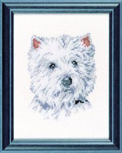 Borduurpakket Westie, een wit hondje