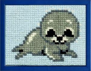 Borduurpakket zeehondje voor kinderen, voorbedrukt.