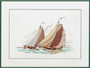 Borduurpakket zeilschip Skutsje, een Friese tjalk boot.