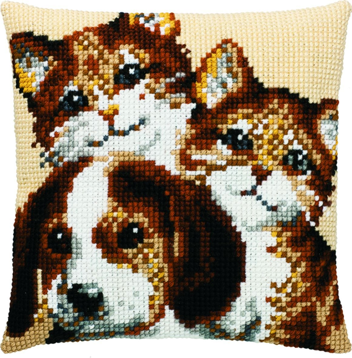cross stitch cushion 2 cats and 1 dog printed