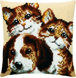 Cross stitch cushion 2 cats and 1 dog, printed.
