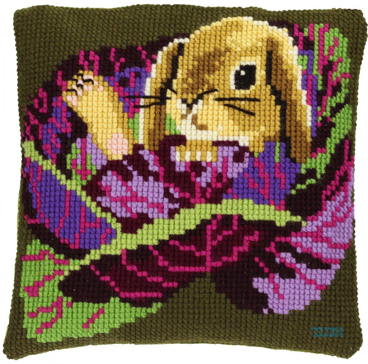 cross stitch cushion baby rabbit printed