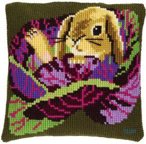 Cross stitch cushion baby rabbit , printed