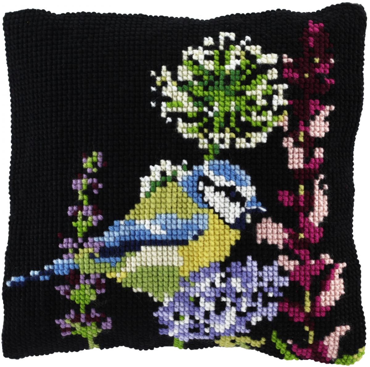 cross stitch cushion blue tit bird printed