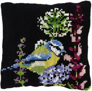 Cross stitch cushion blue tit bird, printed