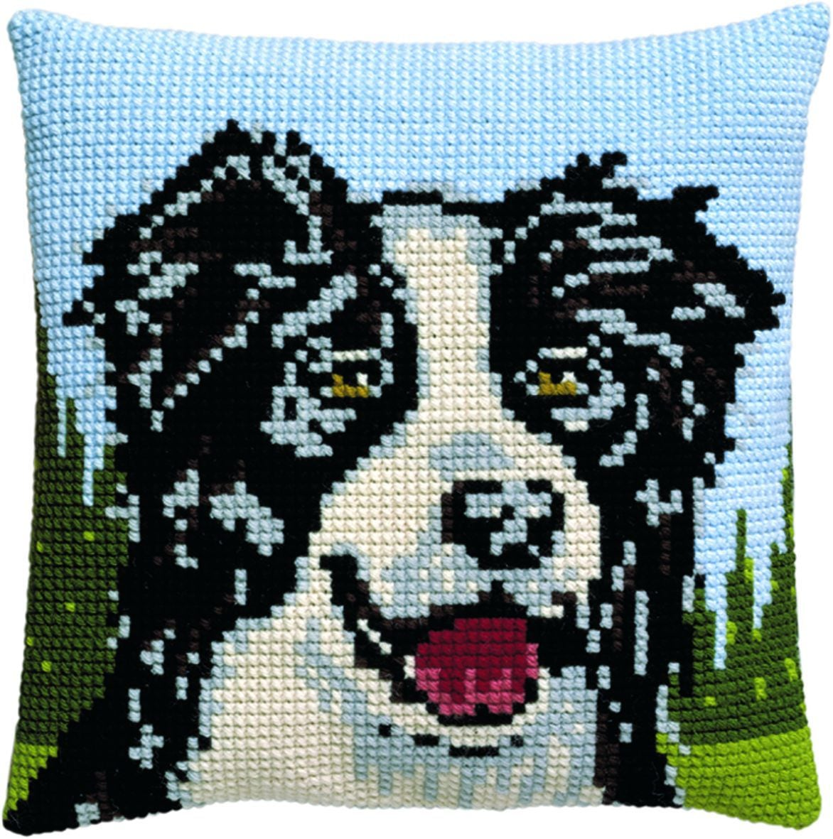 cross stitch cushion border collie printed