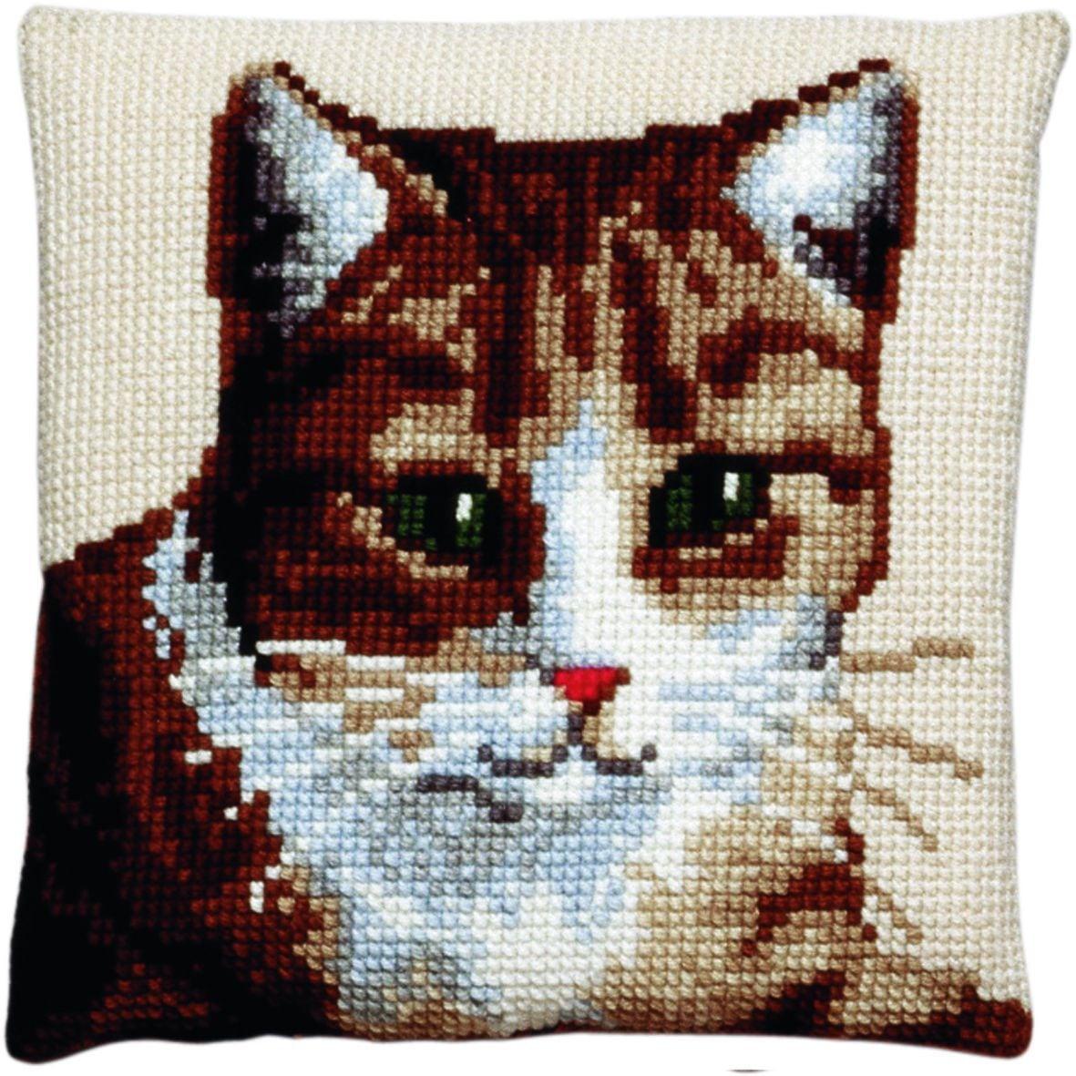 cross stitch cushion cat printed