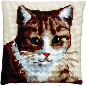 Cross stitch cushion cat, printed