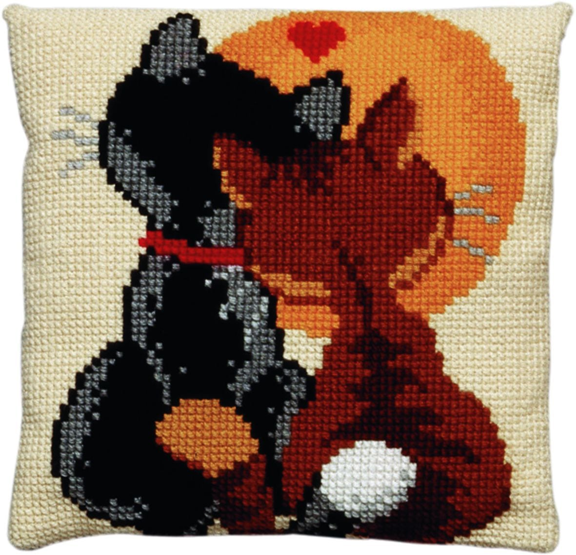 cross stitch cushion cats in love printed