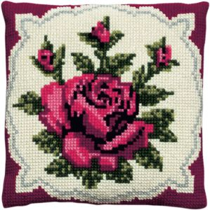 Cross stitch cushion classic red rose, printed