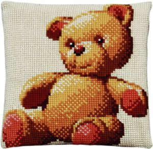Cross stitch cushion cute teddy, printed