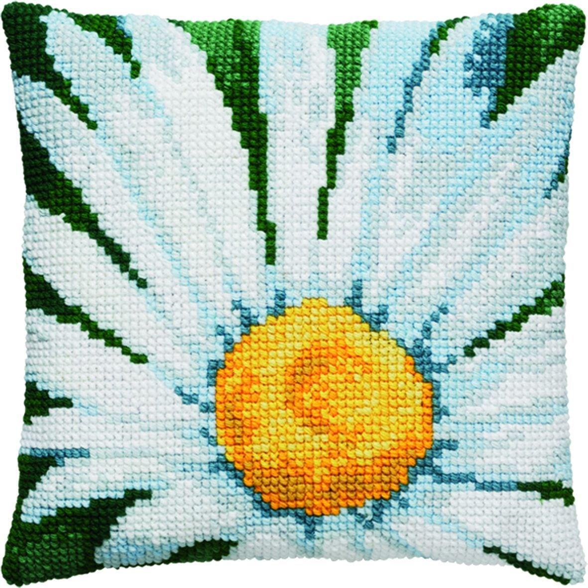 cross stitch cushion daisy flowerprinted