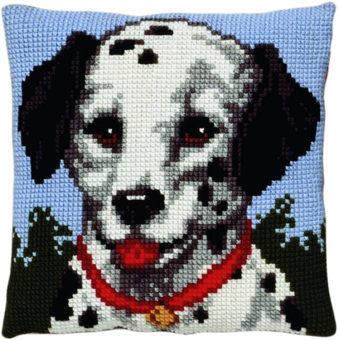 cross stitch cushion dalmatir dog printed