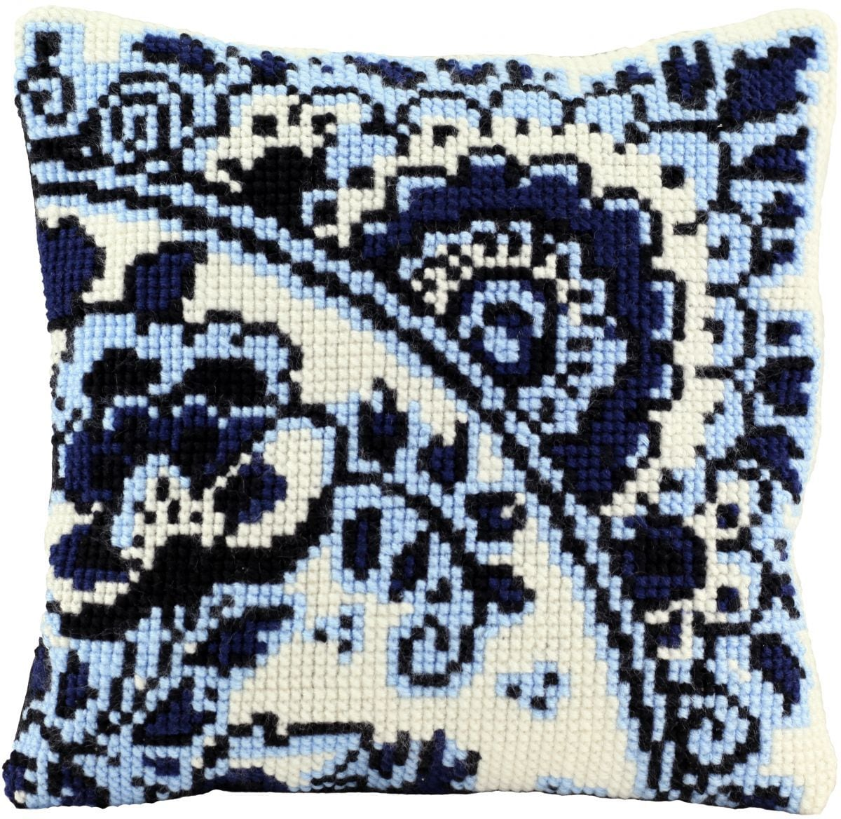 cross stitch cushion delft blue printed